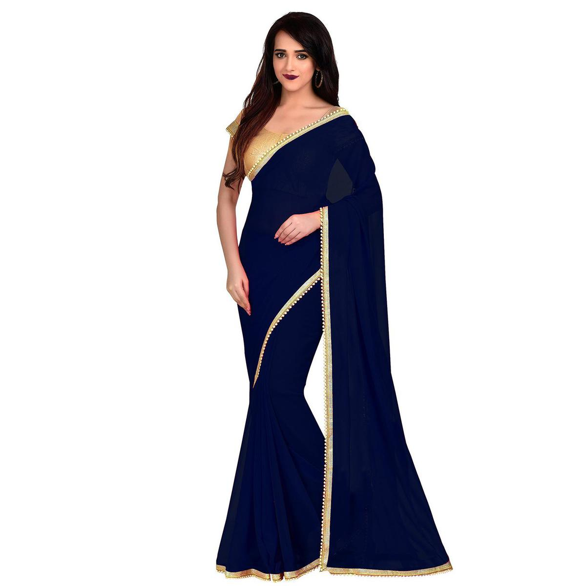 Blooming Navy Blue Colored Party Wear Georgette Saree With Matching Blouse.