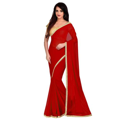 Charming Red Colored Party Wear Georgette Saree With Matching Blouse.