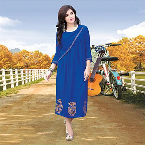 Royal Blue Colored Designer Partywear Printed Cotton Kurti