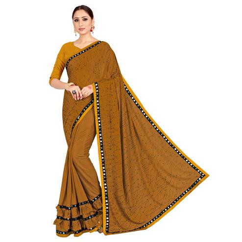 Fantastic Brown Colored Festive Wear Poly Chiffon Saree With Matching Blouse.