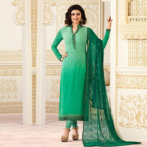 Amazing Shaded Green Partywear Embroidered Brasso Suit