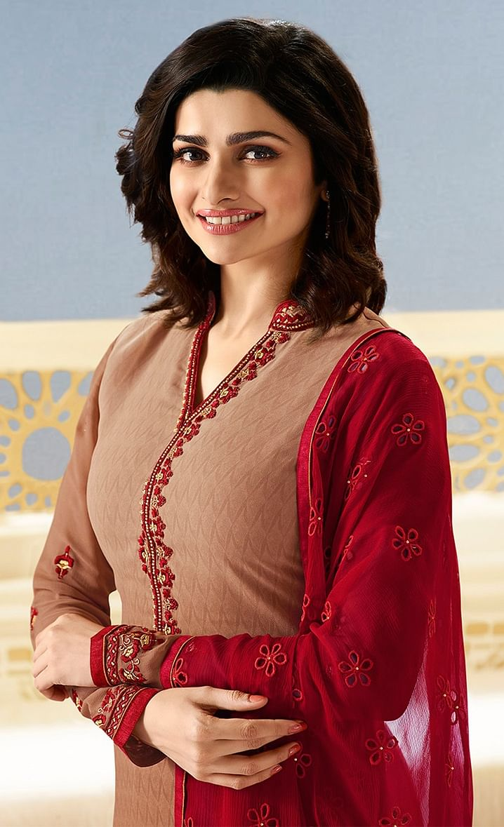Delightful Dark Beige Partywear Embroidered Brasso Suit