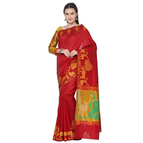 Pleasant Red Colored Festive Wear Art Silk Saree With Matching Blouse.