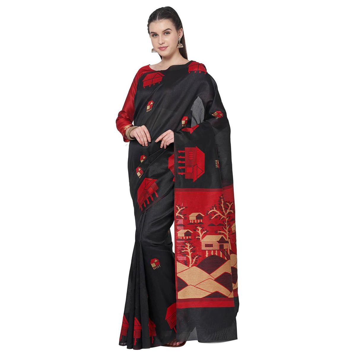 Opulent Black Colored Festive Wear Art Silk Saree With Matching Blouse.