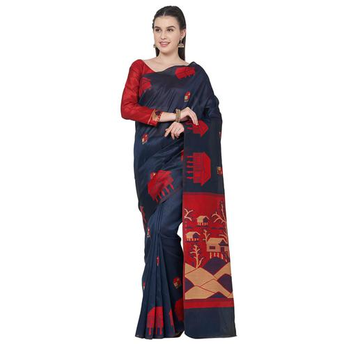 Energetic Blue Colored Festive Wear Art Silk Saree With Matching Blouse.