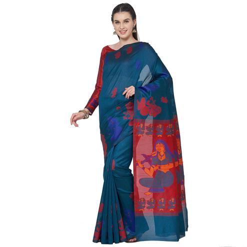 Glowing Teal Blue Colored Festive Wear Art Silk Saree With Matching Blouse.