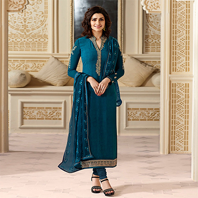 Appealing Royal Blue Partywear Embroidered Brasso Suit
