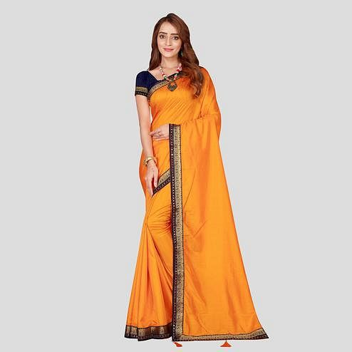 Mesmeric Mustard Colored Festive Wear Woven Border Poly Silk Saree With Matching Blouse.