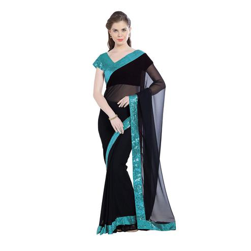Refreshing Black Colored Party Wear Georgette Saree With Matching Blouse.