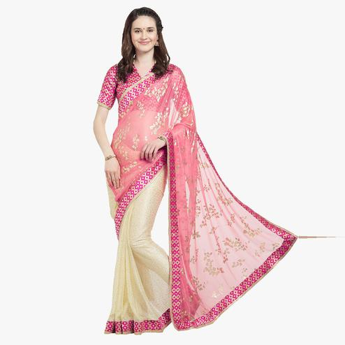 Magnetic Pink Colored Party Wear Lycra Saree With Matching Blouse.