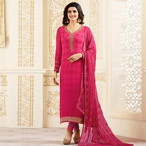 Gorgeous Dark Pink Partywear Embroidered Brasso Suit