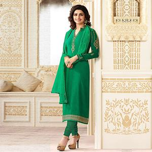 Charming Green Partywear Embroidered Brasso Suit