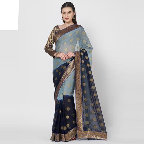 Exclusive Grey Colored Festive Wear Zari Woven Chiffon Silk Saree With Matching Blouse.