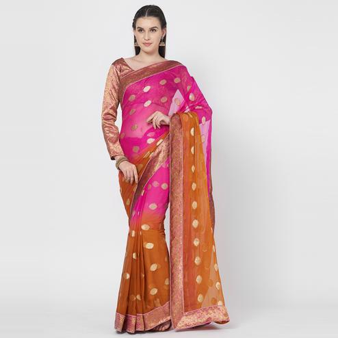 Capricious Brown-Pink Colored Festive Wear Zari Woven Chiffon Silk Saree With Matching Blouse.
