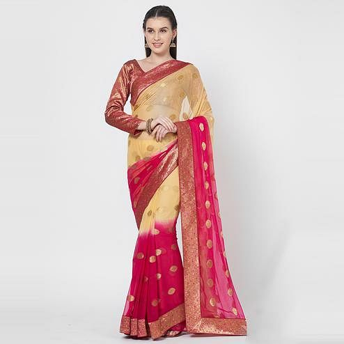 Entrancing Cream Colored Festive Wear Zari Woven Chiffon Silk Saree With Matching Blouse.
