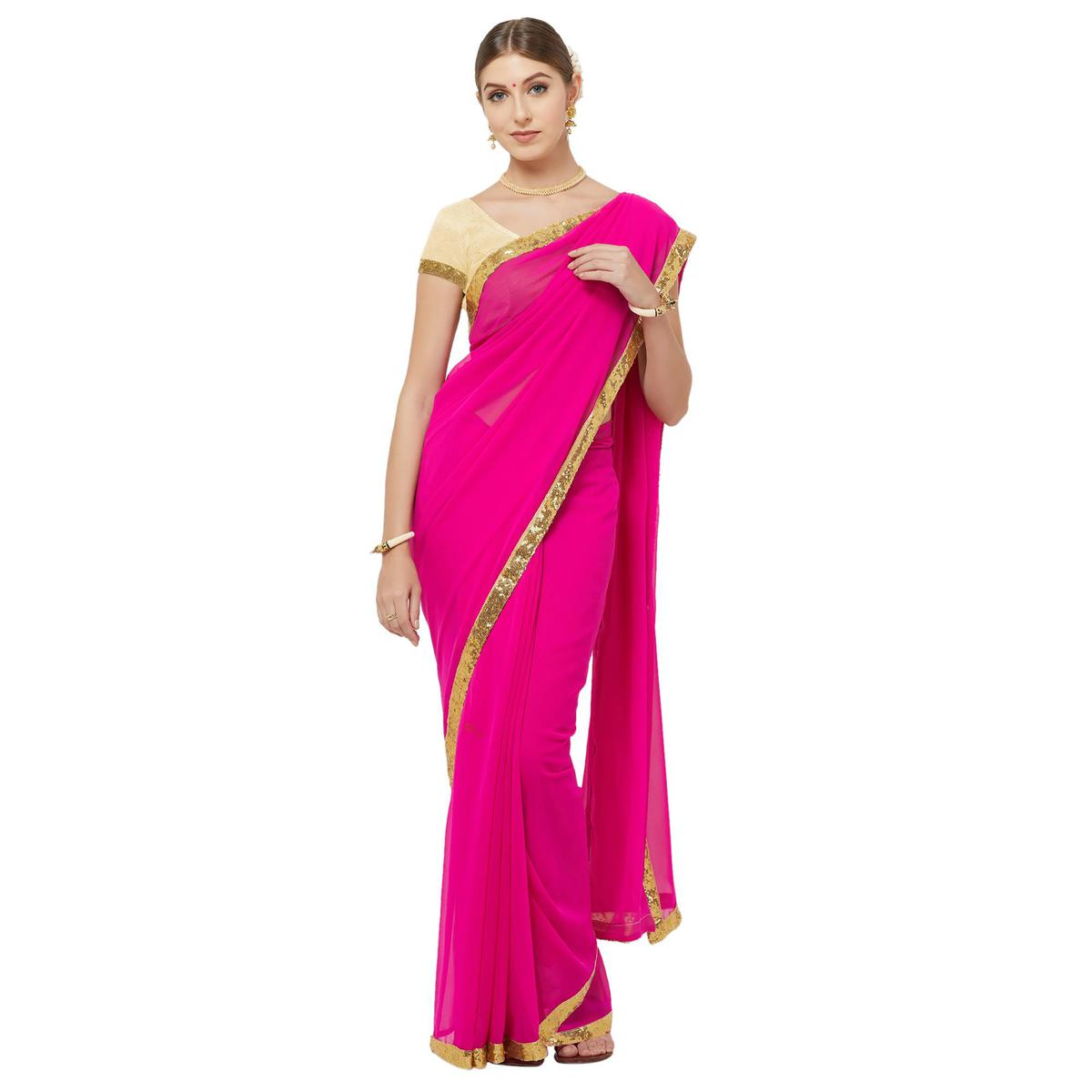 Adorning Red Colored Party Wear Georgette Saree With Matching Blouse.