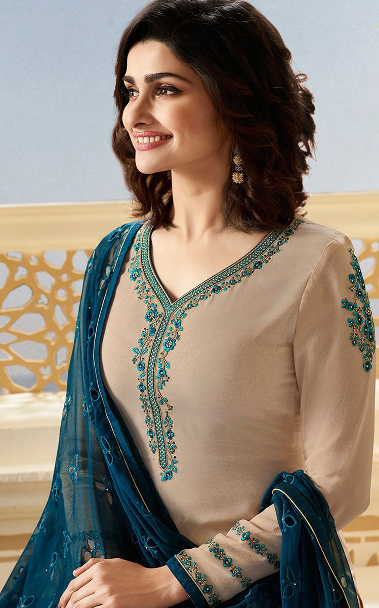 Sizzling Beige Partywear Embroidered Brasso Suit
