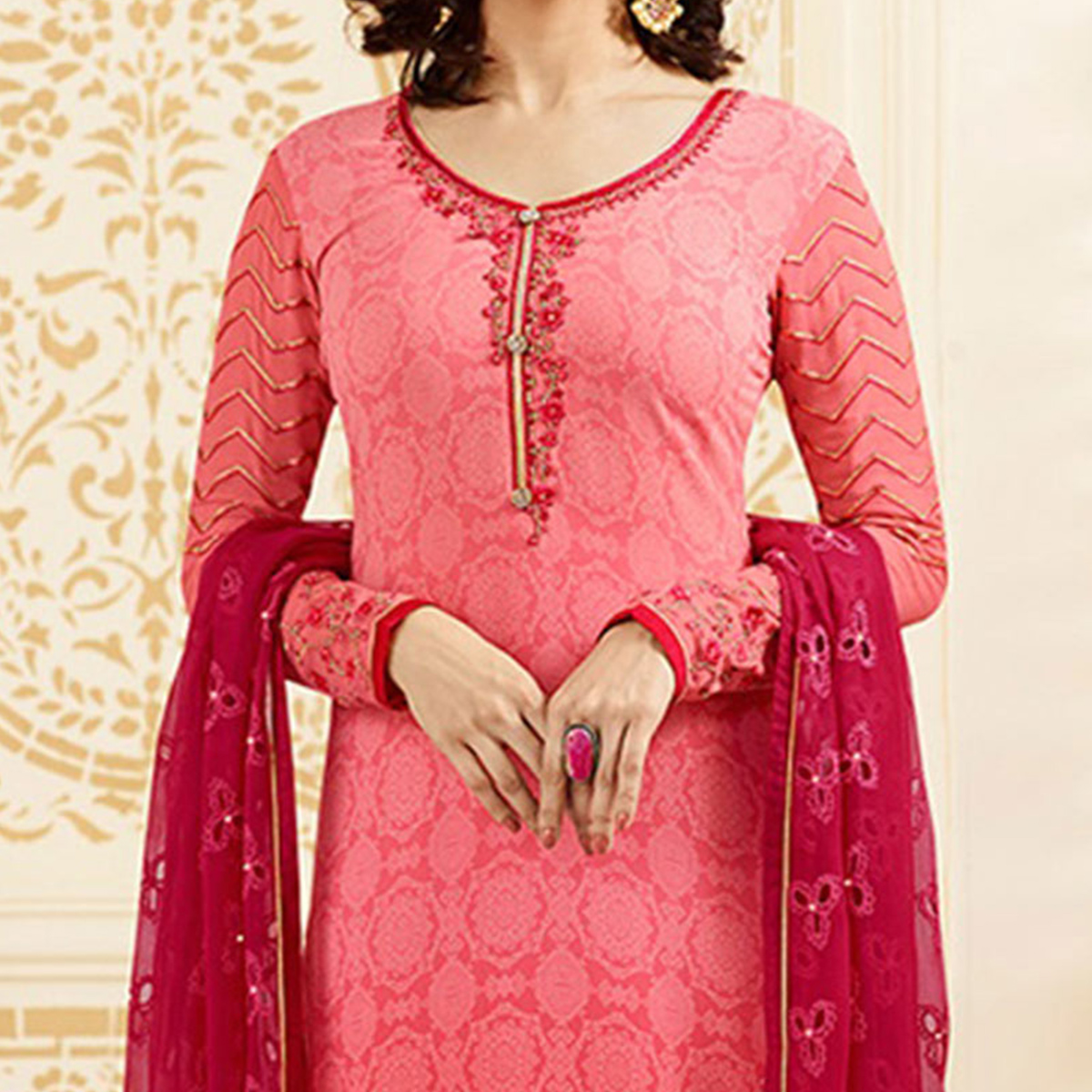 Lovely Pink Partywear Embroidered Brasso Suit