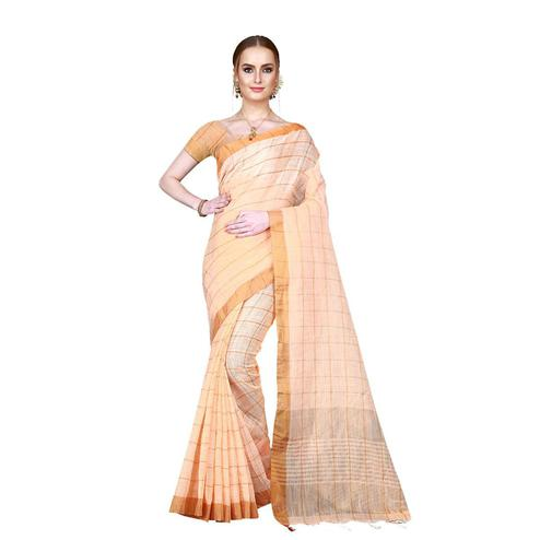 Lovely Light Orange Colored Festive Wear Woven Cotton Linen Silk Saree With Matching Blouse.