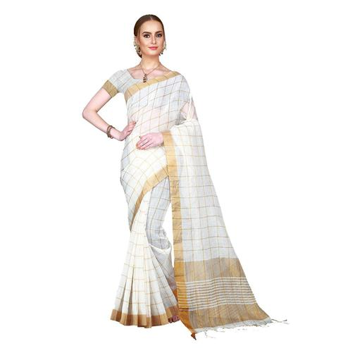 Majesty Off White Colored Festive Wear Woven Cotton Linen Silk Saree With Matching Blouse.