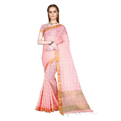 Mesmerising Peach Colored Festive Wear Woven Cotton Linen Silk Saree With Matching Blouse.