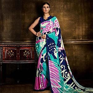 Multi Color Silk Crepe Fancy Saree