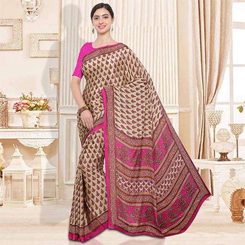 Pink Colored Casual Wear Crape Silk Saree
