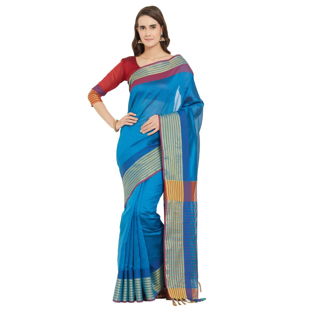 Elegant Teal Blue Colored Festive Wear Woven Cotton Silk Saree With Matching Blouse.