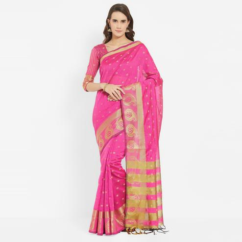 Radiant Pink Colored Festive Wear Banarasi Art Silk Saree With Matching Blouse.