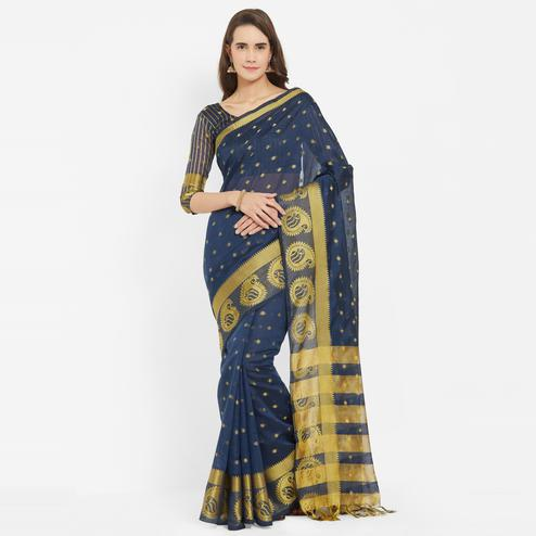 Pleasant Blue Colored Festive Wear Banarasi Art Silk Saree With Matching Blouse.