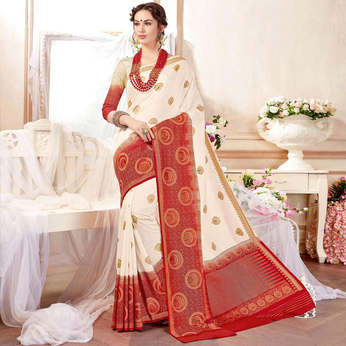 Exceptional Red Colored Festive Wear Art Silk Saree With Matching Blouse.