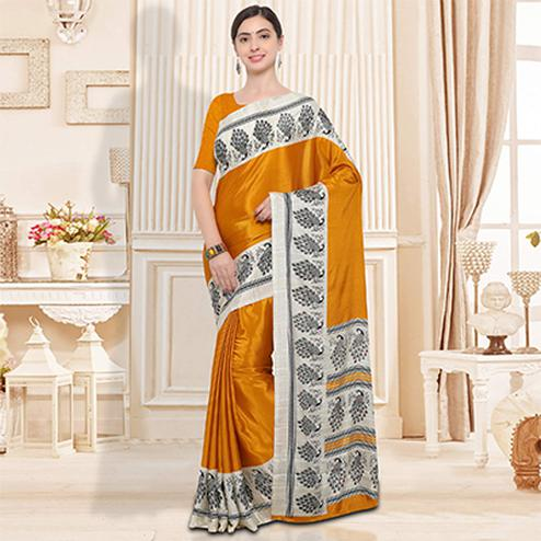 Mustard Yellow Colored Casual Wear Crape Silk Saree