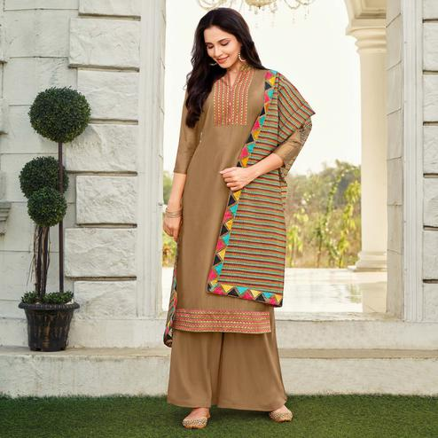 Adorable Brown Colored Festive Wear Embroidered Pure Viscose Dress Material