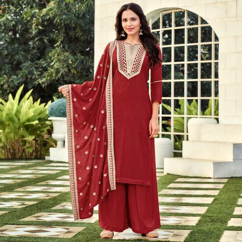 Glorious Maroon Colored Festive Wear Embroidered Pure Viscose Dress Material