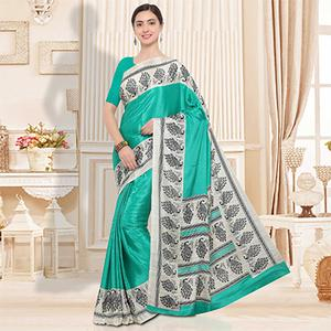 Turquoise Green Colored Casual Wear Crape Silk Saree