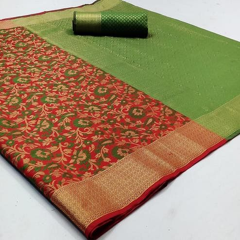 Blooming Red Colored Festive Wear Woven Patola Silk Saree