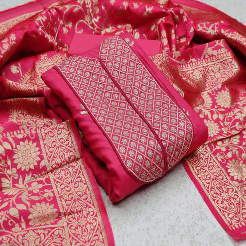 Intricate Pink Colored Festive Wear Woven Cotton Dress Material