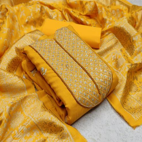 Desirable Yellow Colored Festive Wear Woven Cotton Dress Material