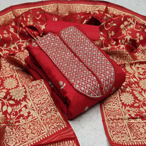 Exotic Red Colored Festive Wear Woven Cotton Dress Material