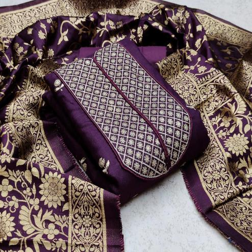 Sophisticated Purple Colored Festive Wear Woven Cotton Dress Material