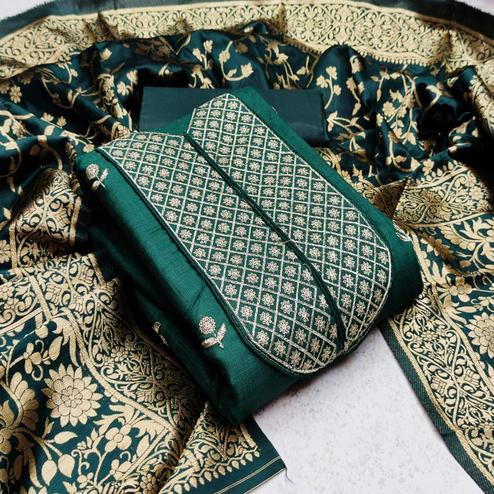 Trendy Green Colored Festive Wear Woven Cotton Dress Material