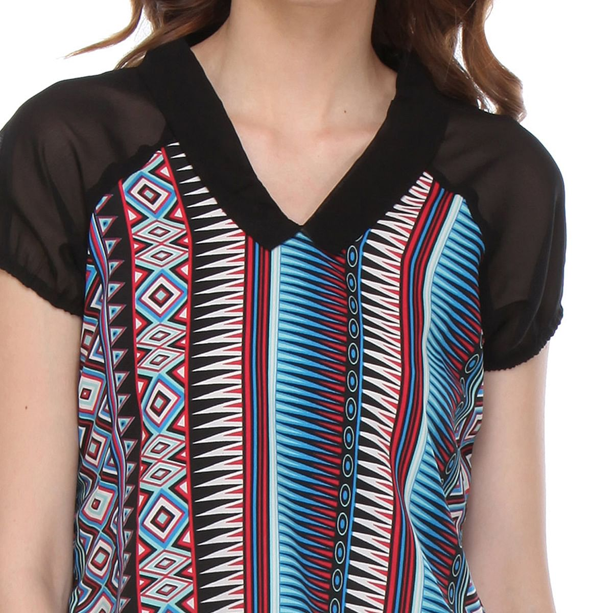 Black Colored Printed Cotton Printed Top