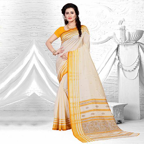 Delighful Beige-Yellow Colored Festive Wear Silk Saree