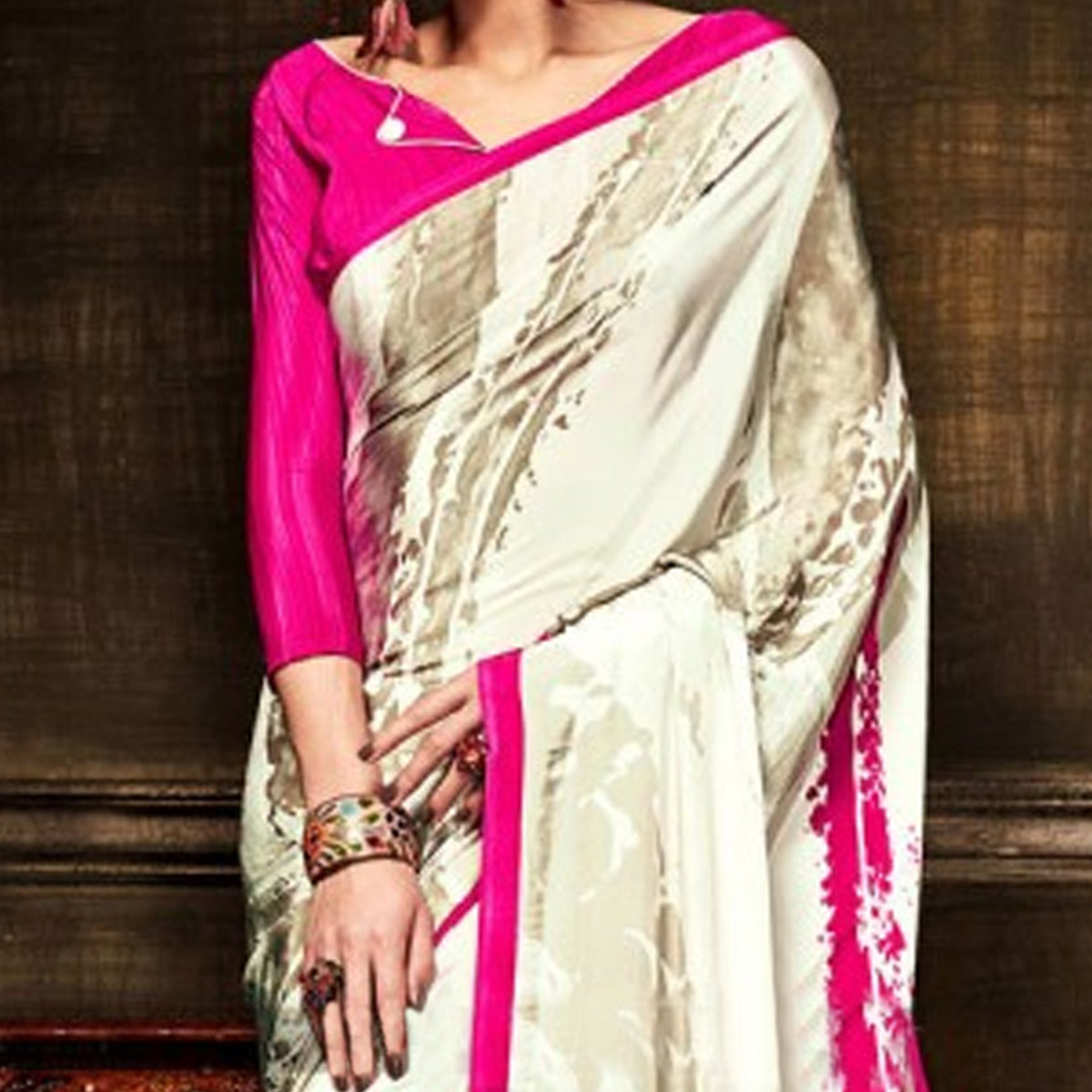 Off White - Pink Fancy Saree