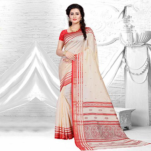 Elegent Beige-Red Colored Festive Wear Silk Saree