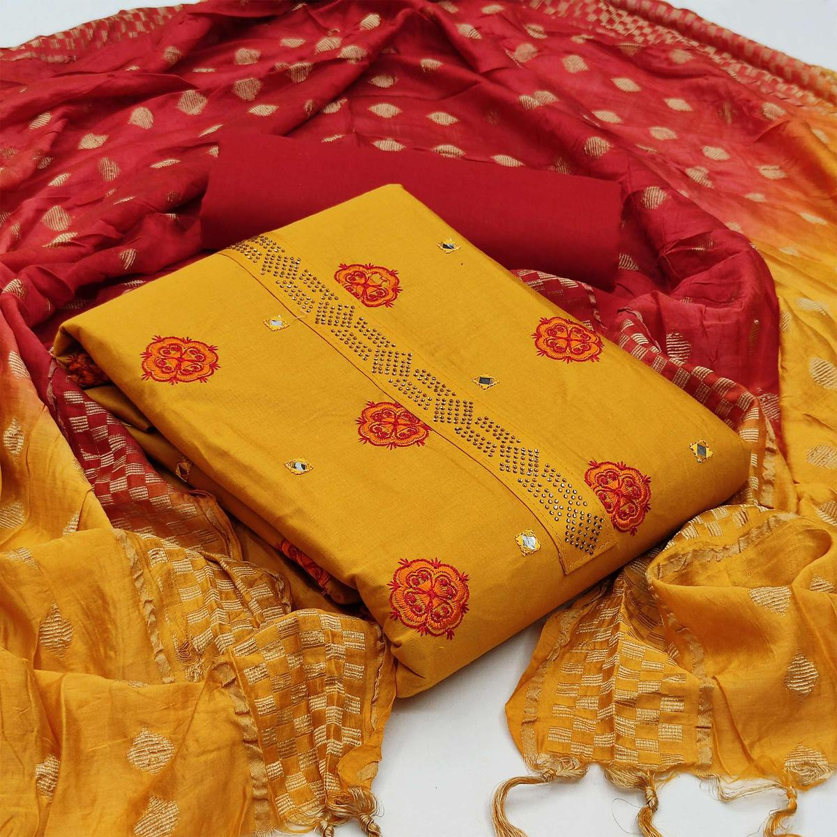 Exclusive Yellow Colored Partywear Embroidered Cotton Dress Material