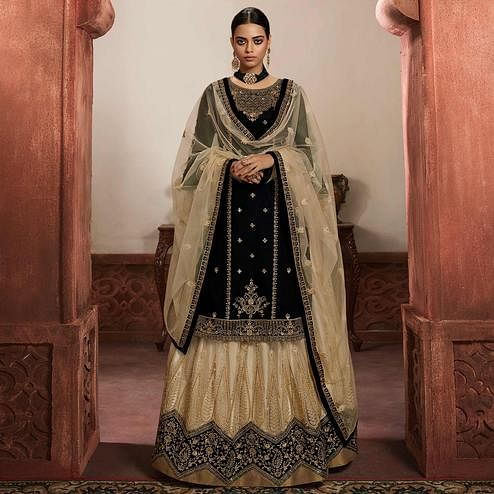 Attractive Black Coloured Partywear Embroidered Faux Georgette Sharara Style Salwar Suit