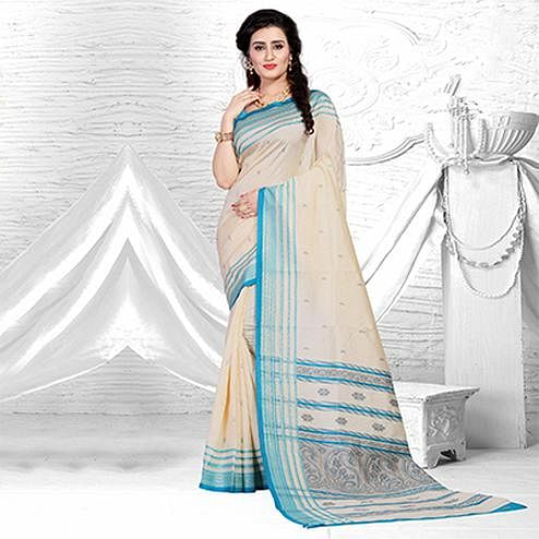 Classy Beige-Blue Colored Festive Wear Silk Saree
