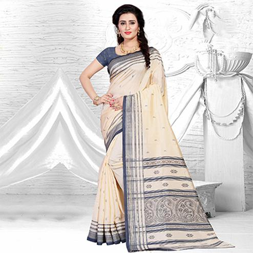 Graceful Beige-Grey Colored Festive Wear Silk Saree