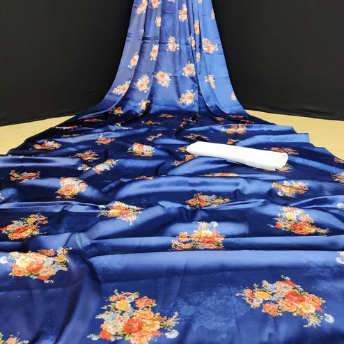 Prominent Blue Coloured Casual Wear Digital Printed Japan Satin Saree